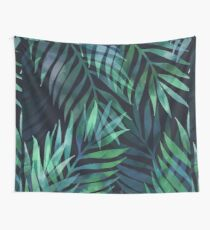Dark green palms leaves pattern Wall Tapestry