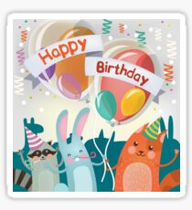 Happy Birthday Greeting Card with Cute Animals for Children Party Sticker