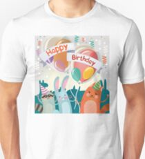 Happy Birthday Greeting Card with Cute Animals for Children Party Unisex T-Shirt