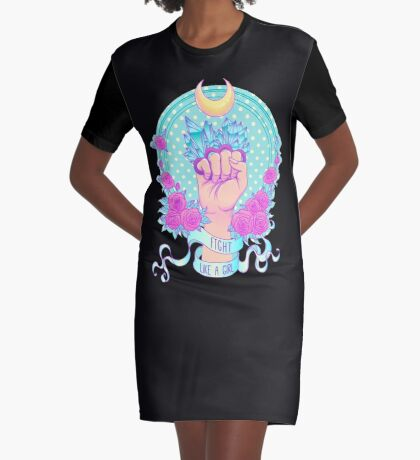 Fight Like A Girl Graphic T-Shirt Dress