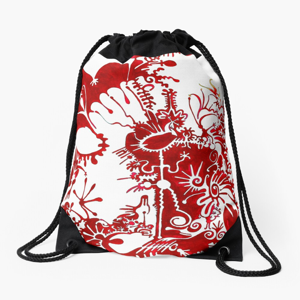 This is a red dream Drawstring Bag