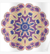 Colorful mandala violet and orange Poster