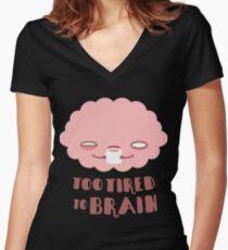 Trop fatigué pour le cerveau T-shirt col V femme