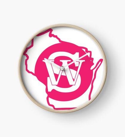 Wisconsin Skinny State pride pink Clock
