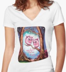 My Heart Led Me to You - Valentine Monsters Women's Fitted V-Neck T-Shirt
