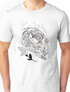 Peony with Leaves and Twigs Unisex T-Shirt
