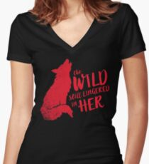 """The Wild Still Lingered In Her"" Women's Fitted V-Neck T-Shirt"