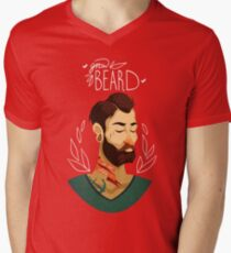 Grow Beard Mens V-Neck T-Shirt