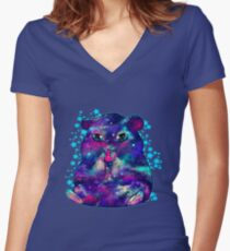 Space hamster Women's Fitted V-Neck T-Shirt