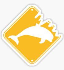 gefahr danger warnung schild gelb gefährlich wilde beißen monster silhuette umriss delfin springen süß niedlich  Sticker