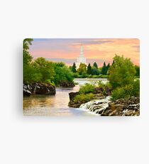 Waterfall Sunrise Idaho Falls Temple 30x20 hz Canvas Print