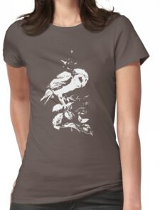 Moonlit Barn Owl Womens Fitted T-Shirt