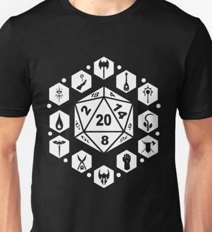 RPG Classes - White Unisex T-Shirt