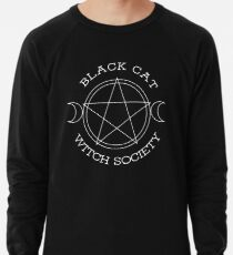 Black Cat Witch Society (white version) Lightweight Sweatshirt