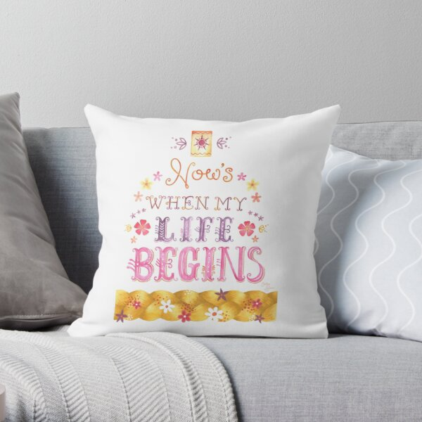 Tangled Typography When Will My Life Begin Throw Pillow
