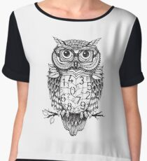 Owl sketch with numbers, glasses Chiffon Top