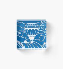 Paper art - Hot Air Balloon on a royal blue background Acrylic Block