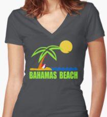 Bahamas Paradise Beach TShirt Bahamas Beach Sun Sand T-Shirt Women's Fitted V-Neck T-Shirt