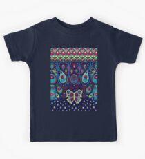 Midnight butterflies - Bohemian pattern by Cecca Designs Kids Tee