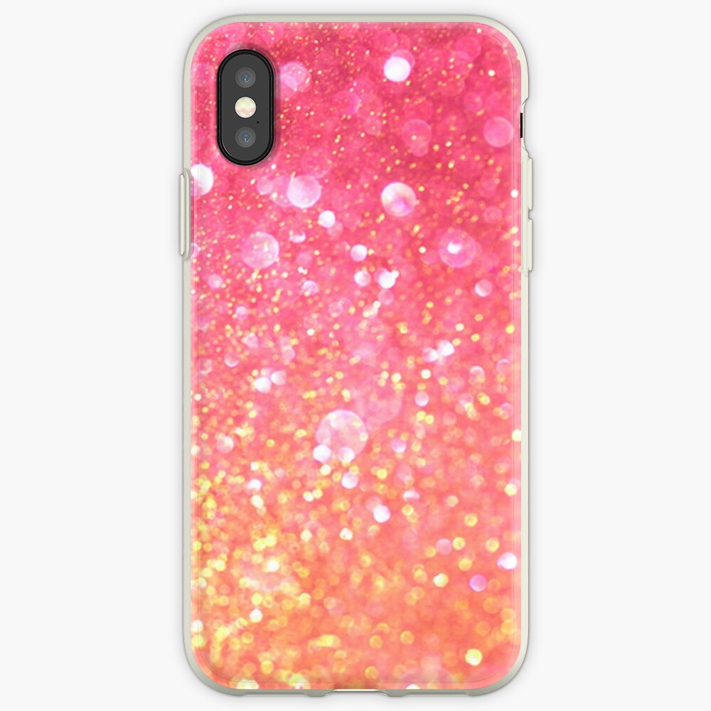 Glam,glitter,pink,orange,yellow,cute,girly,pattern iPhone Case & Cover