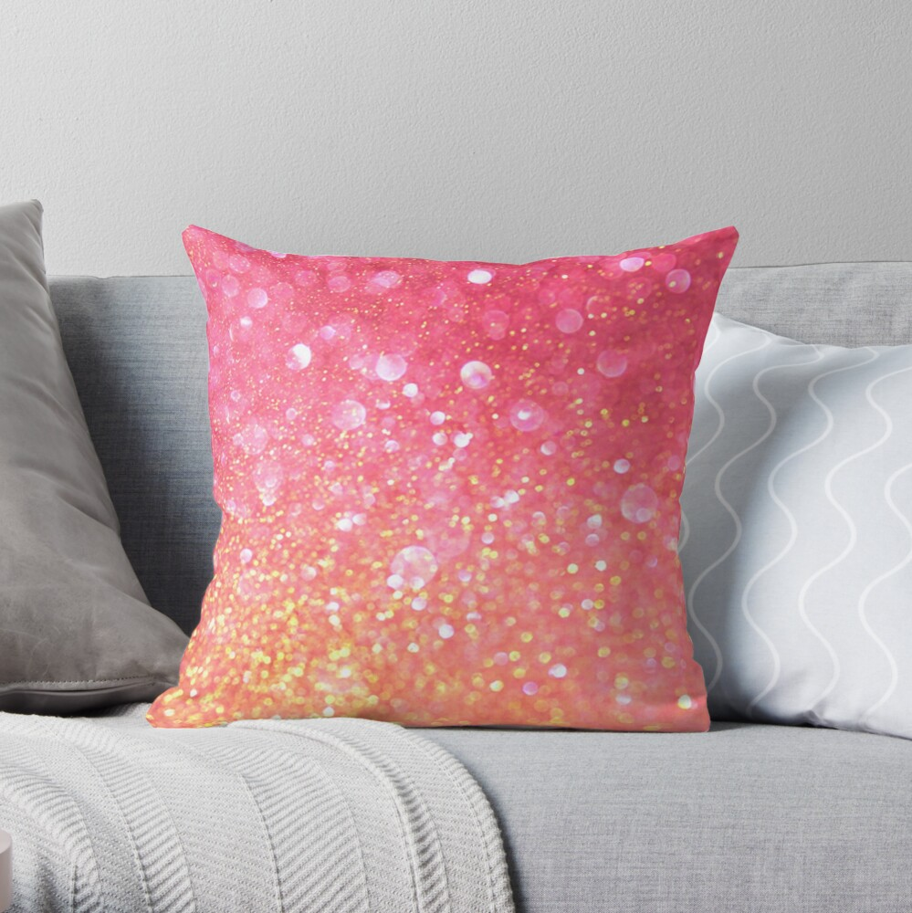 Glam,glitter,pink,orange,yellow,cute,girly,pattern Throw Pillow