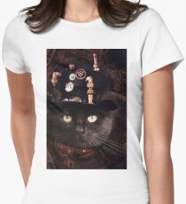 Steampunk Funny Cute Cat Womens Fitted T-Shirt
