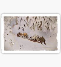 Horse Pulling Sled Through the Snow Sticker