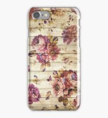Vintage roses on wooden wall iPhone Case/Skin