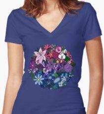 Bi Pride Blumen Tailliertes T-Shirt mit V-Ausschnitt