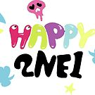 2NE1 - Happy (White & Sticker) by revsoulx3