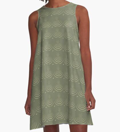 Sage Circles A-Line Dress