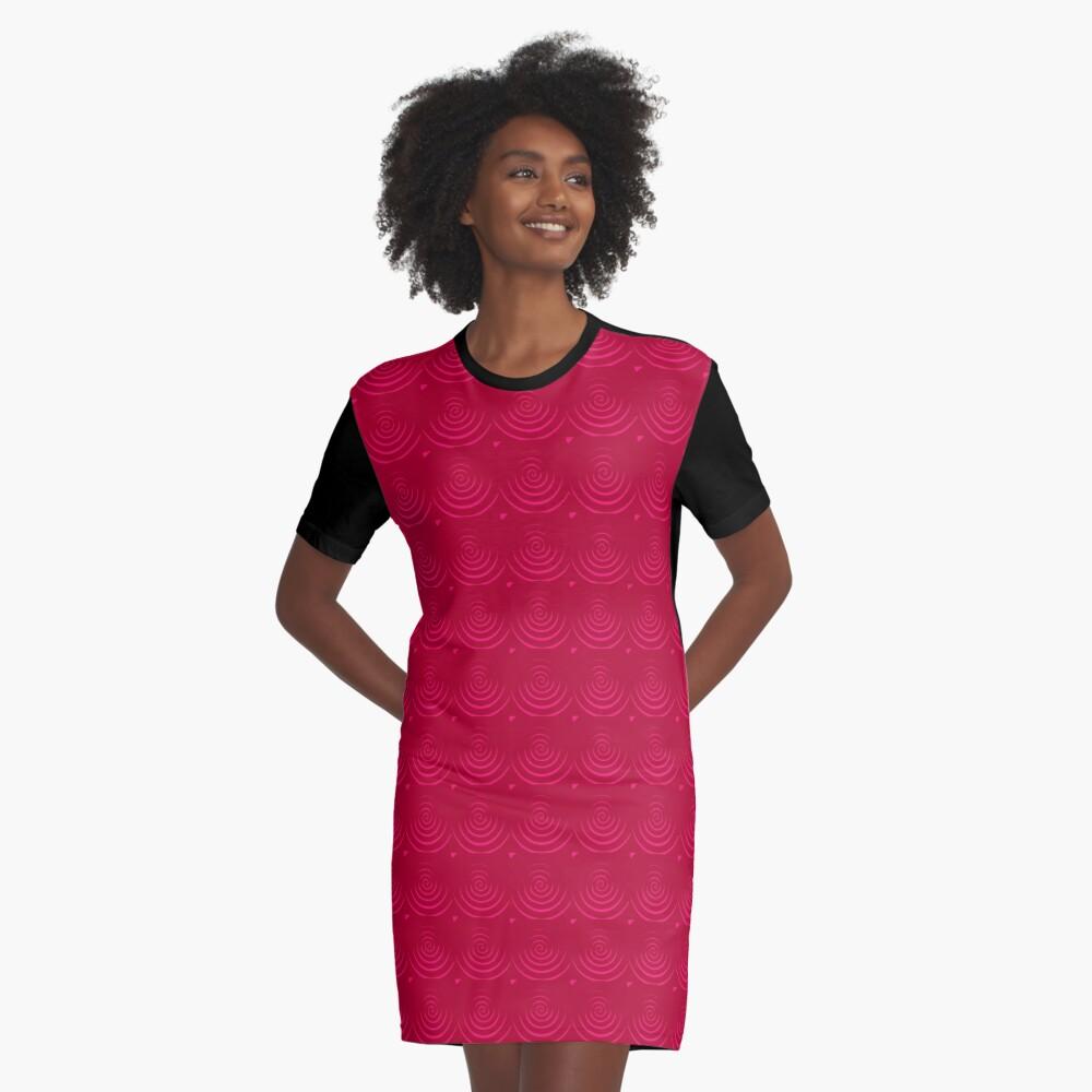 Magenta Red Graphic T-Shirt Dress