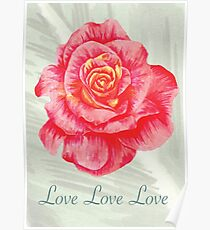 Love Love Love Red Flowers Poster