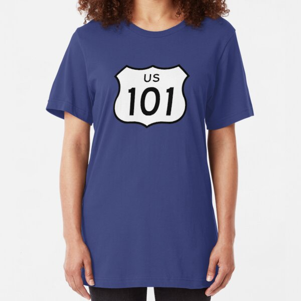 US Route 101 Sticker Slim Fit T-Shirt