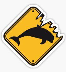 danger gefahr warnung schild gelb gefährlich wilde beißen monster silhuette umriss delfin springen süß niedlich  Sticker