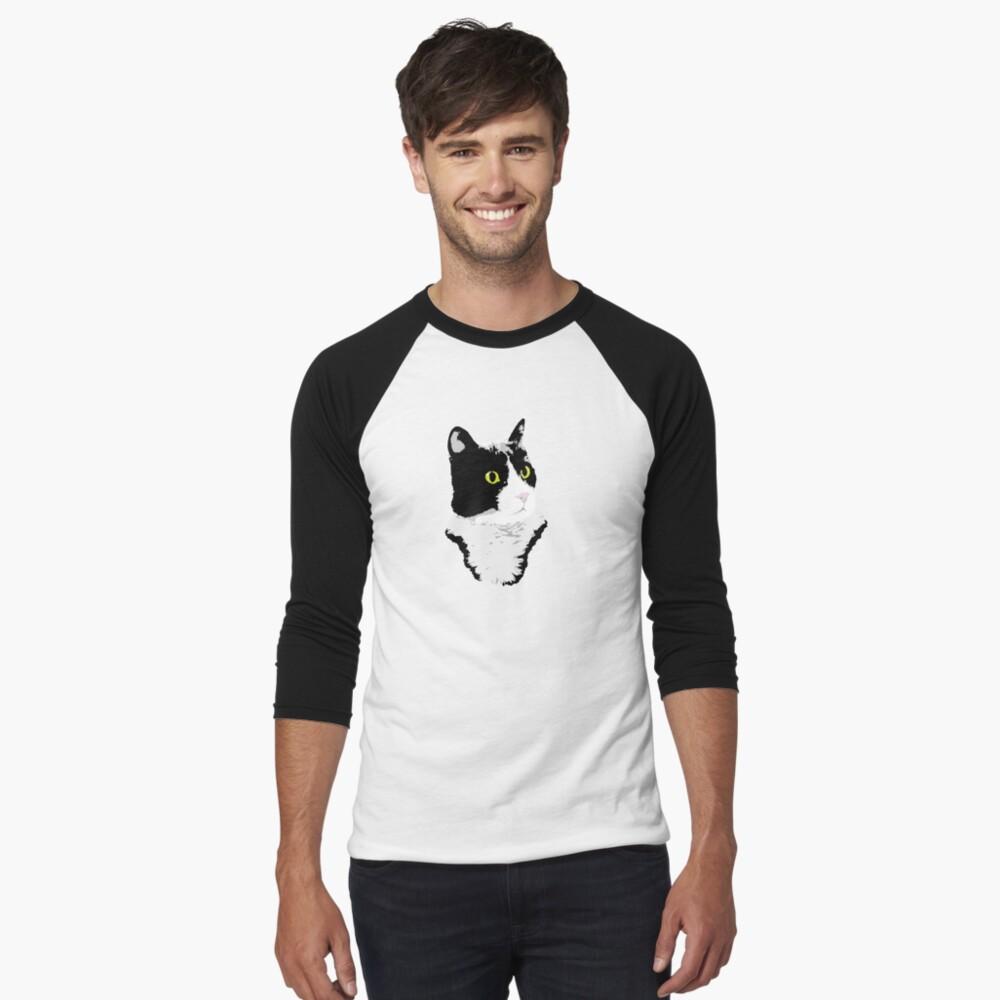 Regal Tuxedo Kitty Baseball ¾ Sleeve T-Shirt