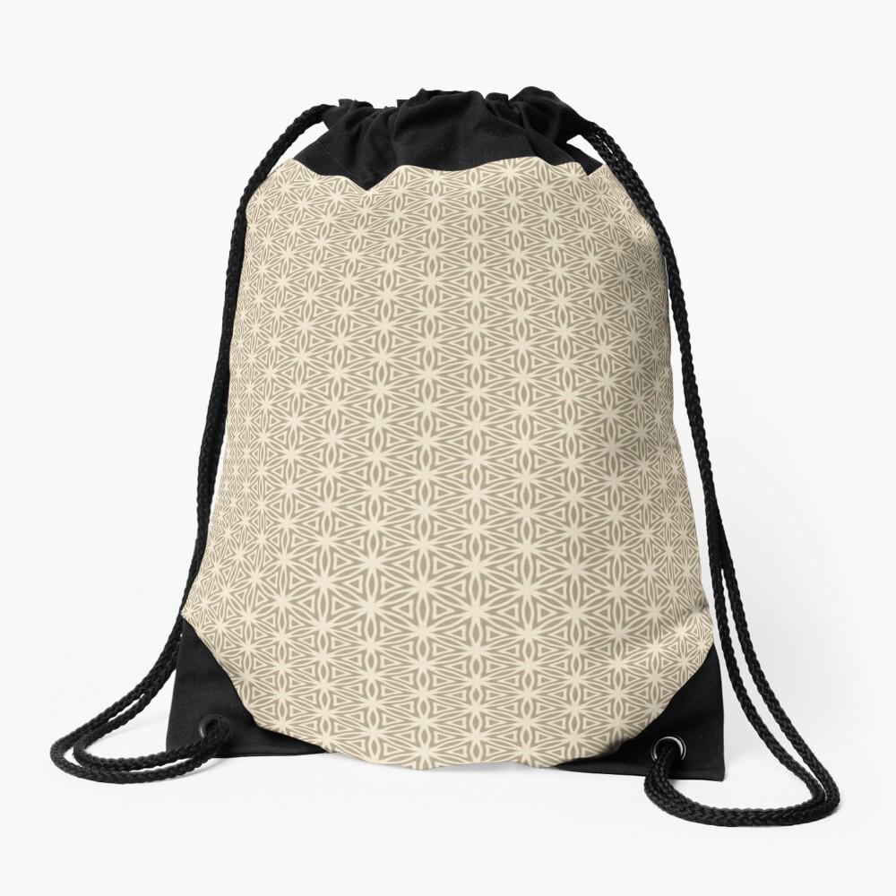 Taupe Snowflake Drawstring Bag