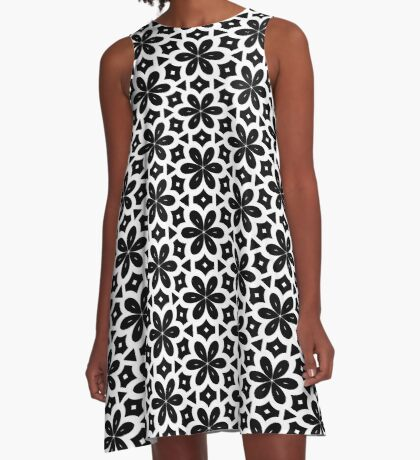 Black & White Flower  A-Line Dress