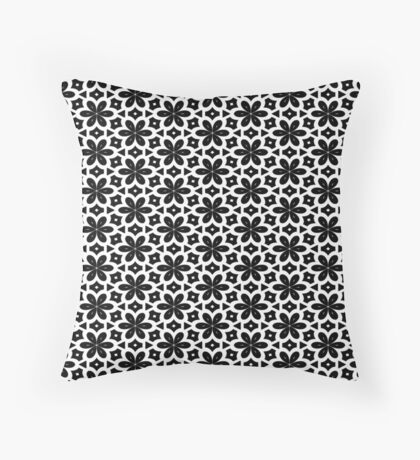Black & White Flower  Throw Pillow