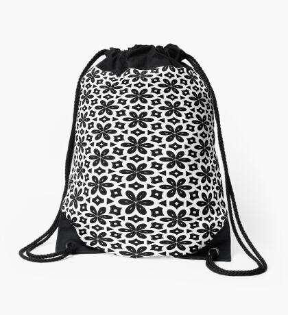 Black & White Flower  Drawstring Bag