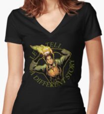 LET'S TELL A DIFFERENT STORY Women's Fitted V-Neck T-Shirt