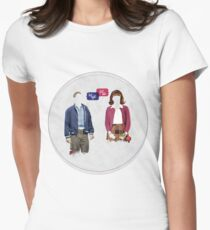 """First Date, Last Night"" (circle background) Women's Fitted T-Shirt"