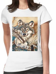 My Creative Design of a Grey Timber Wolf Womens Fitted T-Shirt