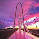 Margaret Hunt Hill Bridge Pink Stormy Sunset by josephhaubert