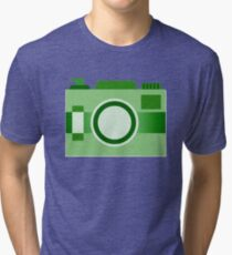Retro Old-Time Camera, Green Tri-blend T-Shirt