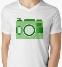 Retro Old-Time Camera, Green Mens V-Neck T-Shirt