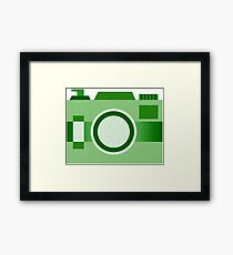 Retro Old-Time Camera, Green Framed Print