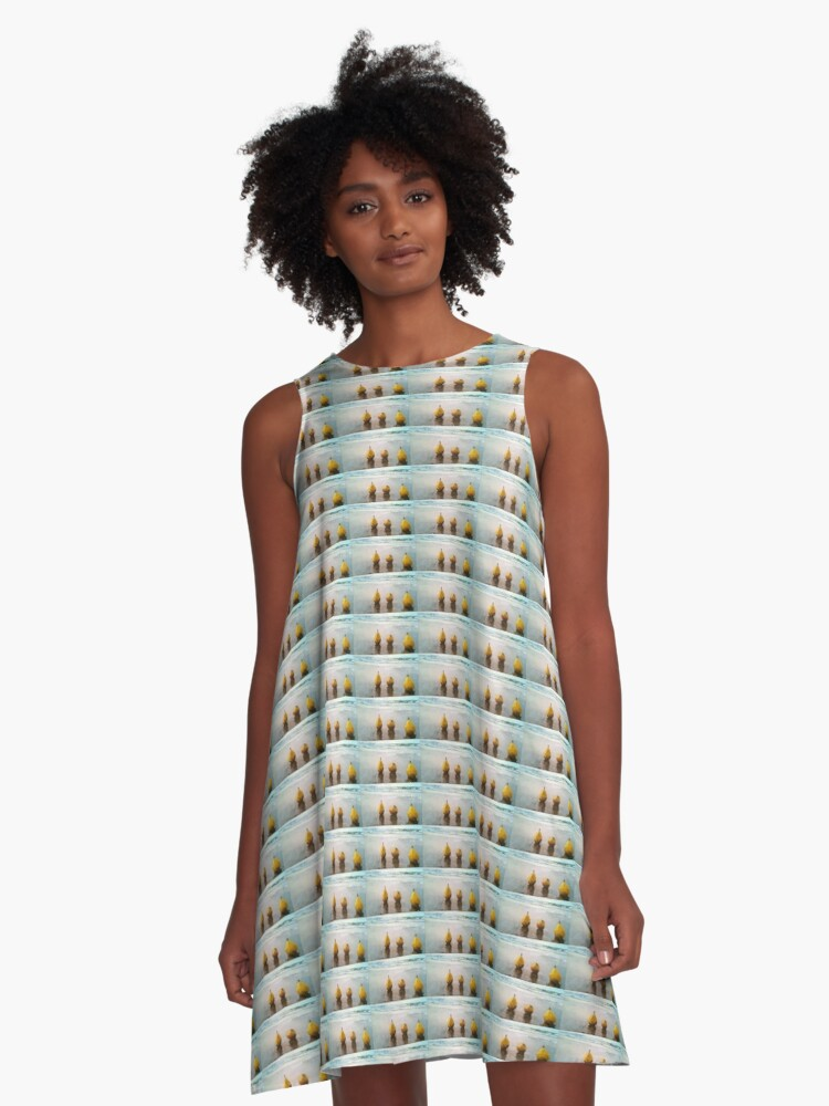 PEARS DAY OUT AT THE BEACH A-Line Dress Front