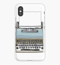 Blue and cream vintage  typewriter cute art illustration iPhone Case/Skin