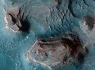 Mesas in der Nilosyrtis Mensae Region des Mars. von StocktrekImages